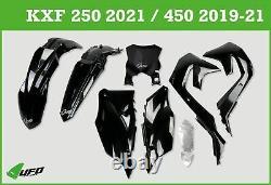 Kawasaki KXF 250 2021 UFO Plastic Kit Stadium With Front Number Plate Black