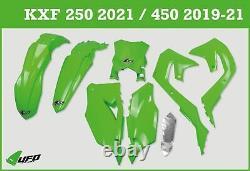Kawasaki KXF 250 2021 UFO Plastic Kit Stadium With Front Number Plate Green OEM