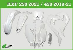 Kawasaki KXF 250 2021 UFO Plastic Kit With Stadium Front Number Plate White