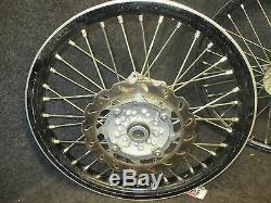Kawasaki KXF250 2006-2018 Used genuine oem 19 + 21 Black wheel set kx2769