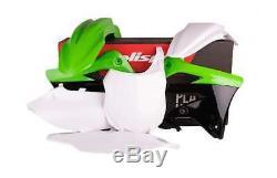 Kawasaki KXF450 13-15 OEM GREEN WHITE PLASTIC KIT POLISPORT