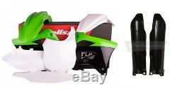 NEW Polisport KAWASAKI KXF 450 13 14 15 Plastic Kit & Fork Guards Blk/Grn/Wt OEM