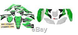 New KXF 250 13 14 15 16 PTS4 Graphics Sticker Plastic Kit Green Plastics KXF250