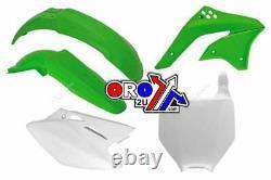 New Racetech Plastic Kit Kawasaki KXF 450 06 07 08 Plastics OEM Green White MX