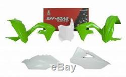 RACETECH OEM Green White Plastic Kit Kawasaki KXF 450 2019