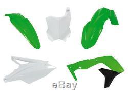 Racetech Plástico Conjunto Kit Juego Verde Negro Blanco Kawasaki Kxf 450 2016-18