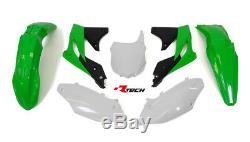 Racetech Plastics kit OEM GREEN WHITE. KAWASAKI KXF250 2013 2016