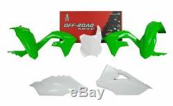 Racetech Plastique Kit Lot en Kawasaki Kxf 450 2019- OEM Vert Blanc