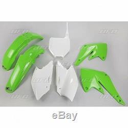 UFO Motocross 5 Piece Plastic Kit Kawasaki KXF 250 2004 2005 OEM Colour