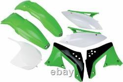 UFO Plastikkit Plastiksatz Plastik Kit KAWASAKI KXF 450 10-11 OEM11 WEISS GRÜN